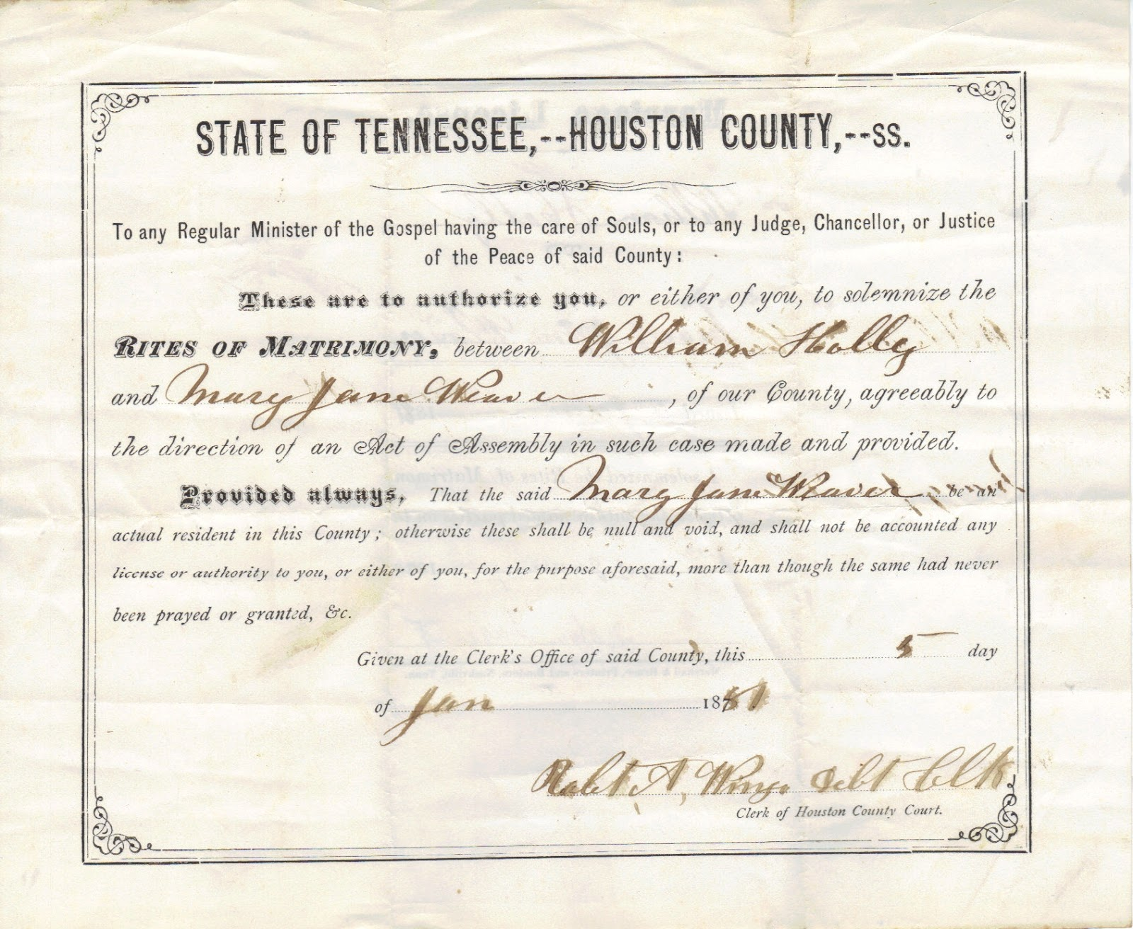 A genealogist in the archives marriage license located in loose marriage records collection at houston county tennessee archives aiddatafo Gallery