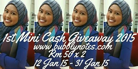 1st Mini Cash Giveaway 2015: www.bubblynotes.com