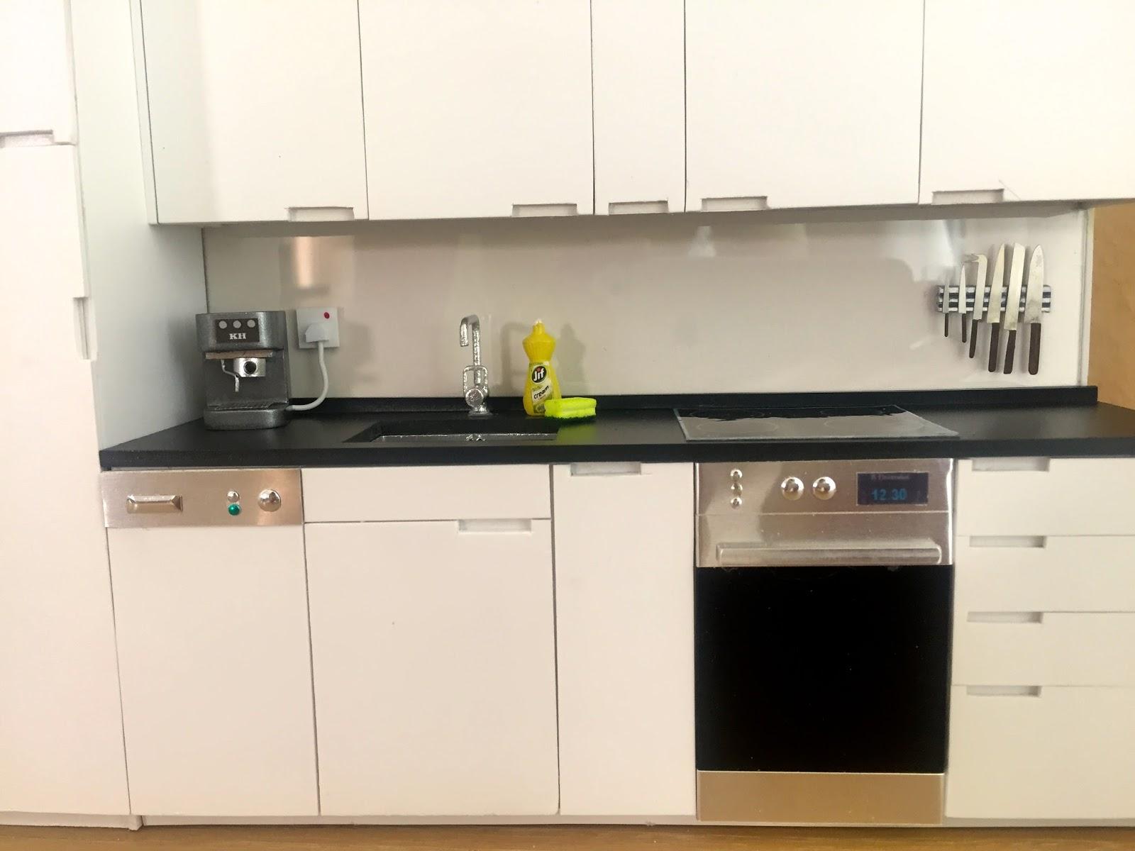 1 12 scale modern model houses kitchen for Model kitchen