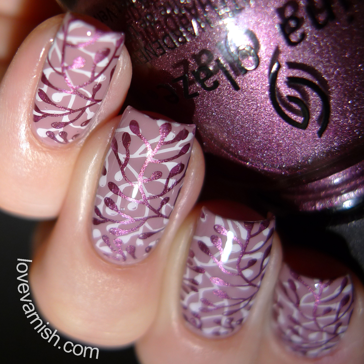 Love Varnish: Nail art // Double stamping over Cirque Colors Jane on ...
