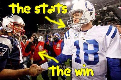 the stats, the win - Peyton, Brady