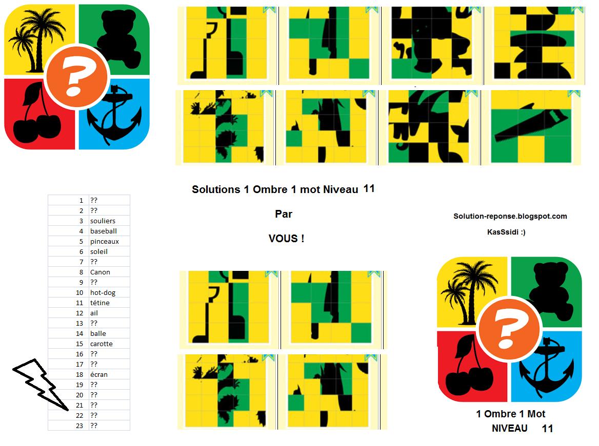 Solution 1 image 1 mot ombre puzzle niveau 11 , Solution 1 ombre 1 mot