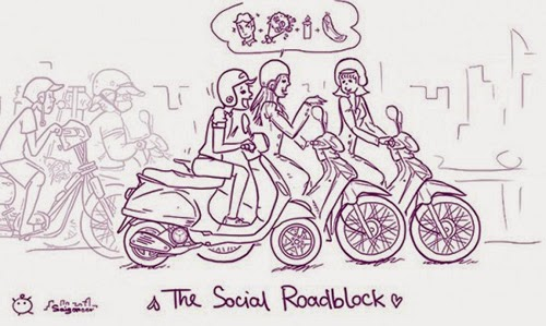Người Việt đi xe máy trên web vận tải Tri Châu