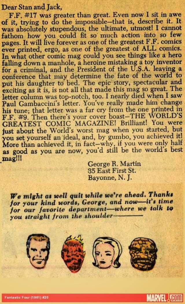 Marvel revela la carta que les escribió George R. R. Martin a principio de los 60's