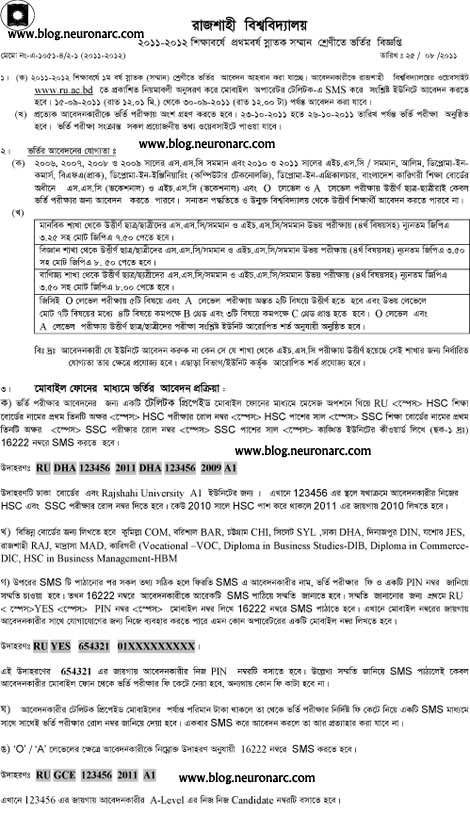 admission notice11 Rajshahi University (RU) admission 2011   12 circular