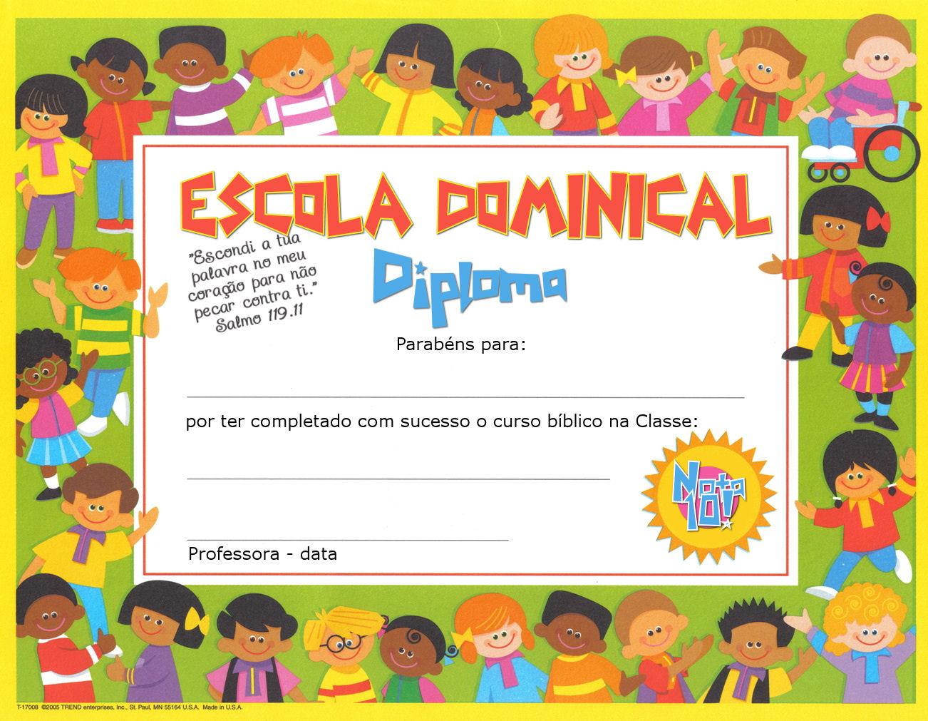 Certificados De Escuela Dominical Gratis