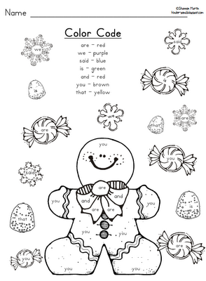 Gingerbread for word Blog:  worksheets christmas kindergarten A of week. kind sight Ms.M's