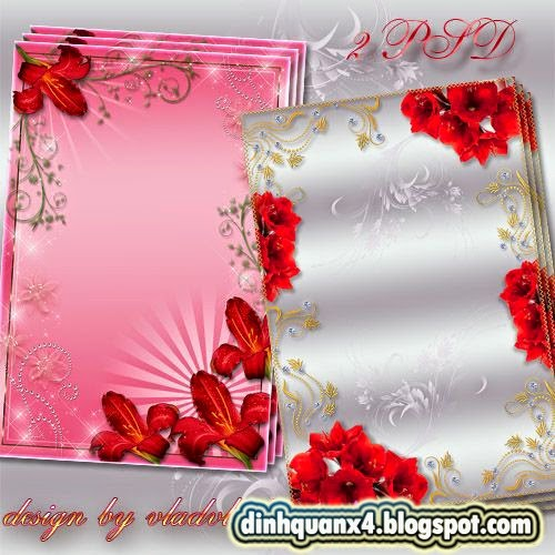 Flower Photo frames - Red lilies Bouquets