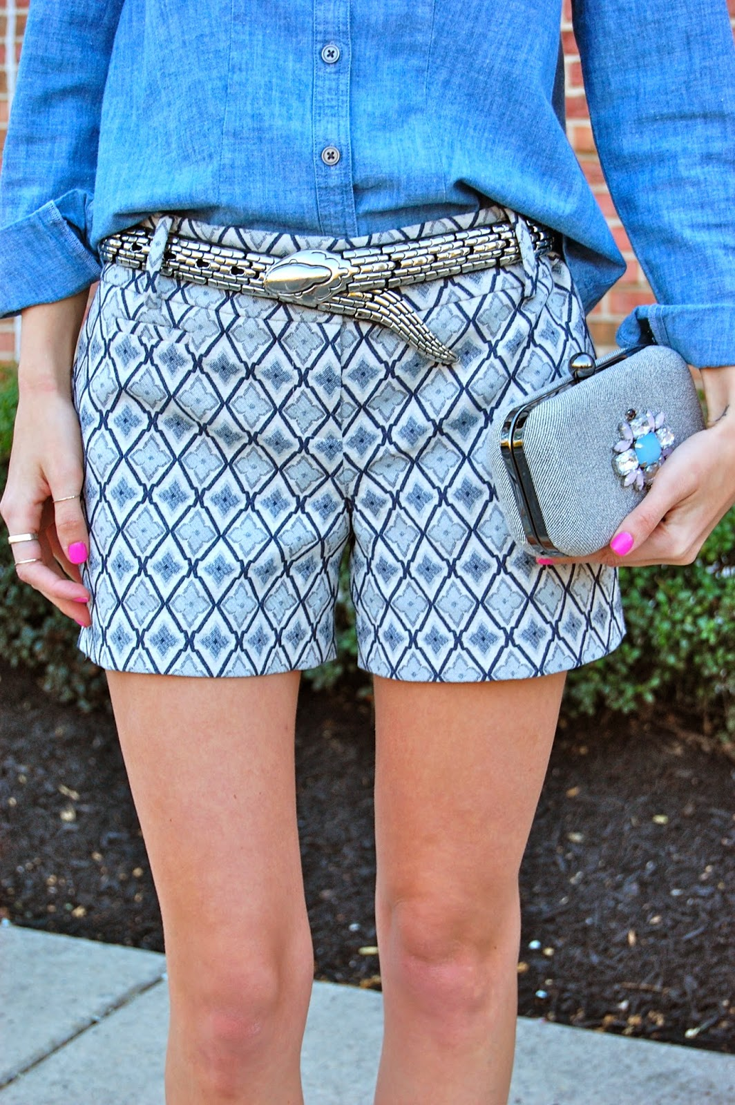 Wearing Loft tile jacquard shorts, a vintage silver snake belt and Loft chambray shirt