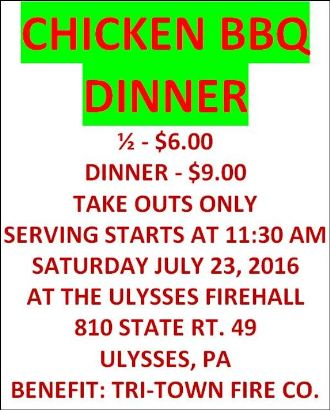 7-23 Chicken BBQ Ulysses Fire Hall