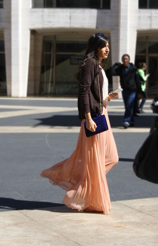 peach chiffon maxi skirt