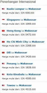Penerbangan Internasional ke Makassar