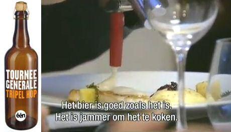 Sofie Dumont serveert tripel hop schuim bovenop een Vlaams gerecht met tarbot, gepocheerd ei en mousseline van aardappel en karnemelk in Tournée Générale