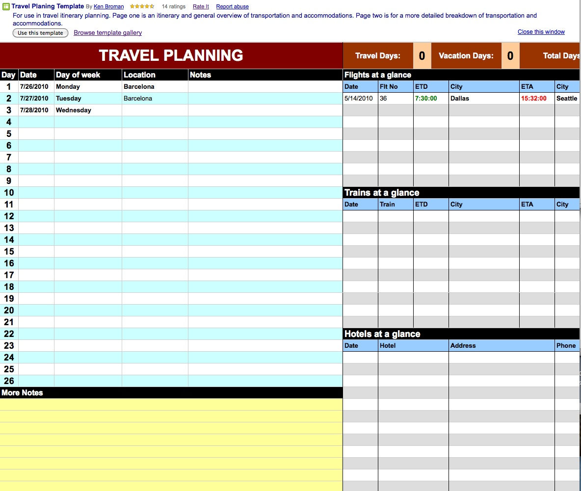 Granny Joans Hitek Lady Blog Using Google Docs For Travel Plans - Google docs planner