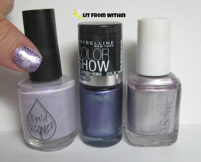 bottle shot:  Liquid Lacquer All Lilaced Out, Maybelline Amethyst Ablaze, and Essie Nothing Else Metals