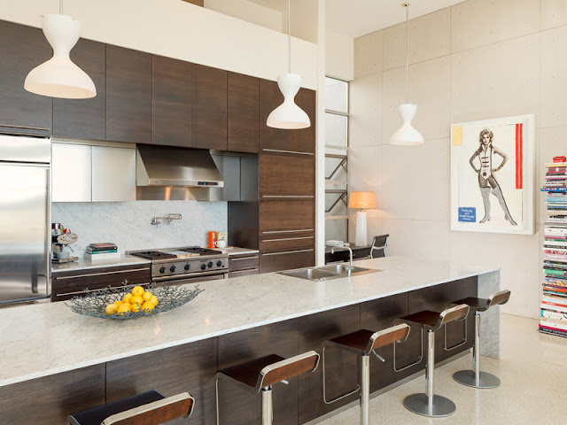 Picture of contemporary brown kitchen furniture