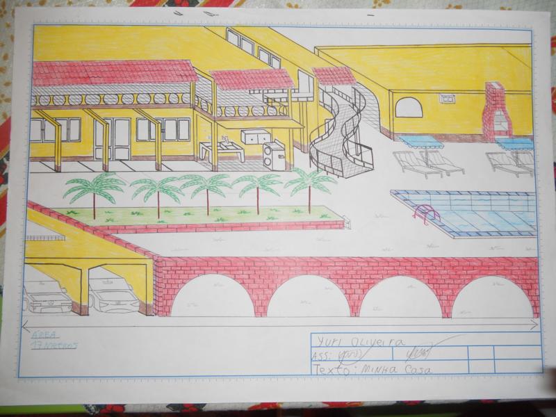 Casa com piscina (desenho)