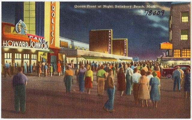 Antique Postcard, Ocean Front, Salisbury Beach, Massachusetts, frolics, howard johnsons, bowling