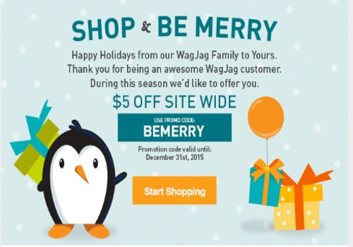 Wagjag Shop & Be Merry $5 Off Promo Code