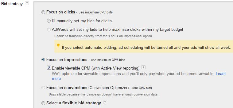 Adwords CPM bidding