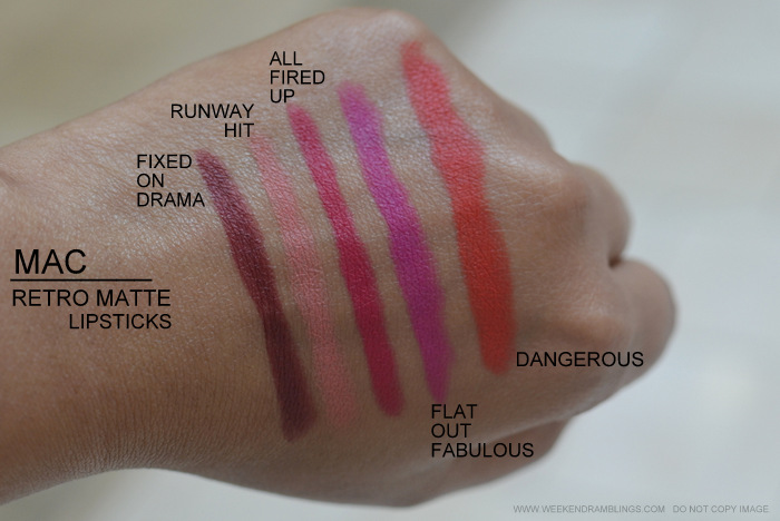 MAC Retro Matte Makeup Collection Lipsticks Indian Beauty Blog Darker Skin Swatches Fixed on Drama Runway Hit All Fired Up Flat Out Fabulous Dangerous