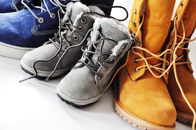 синие, серые и пшеничные ботинки Timberland