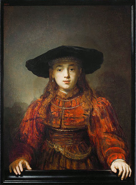 """Picture of """"The Girl in a Picture Frame"""" by Rembrandt, 1641"""