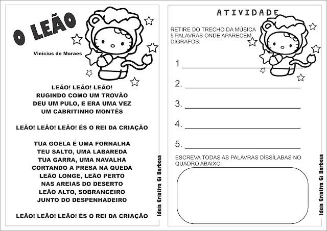 Texto Ilustrado O Leão Vinicius de Moraes e Atividade Dígrafo e Dissílabas