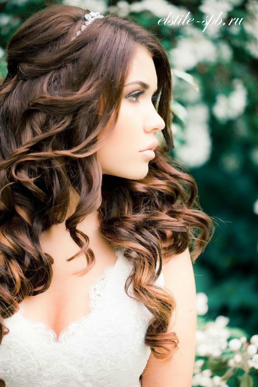 Причёски на распущенные волосы кудри