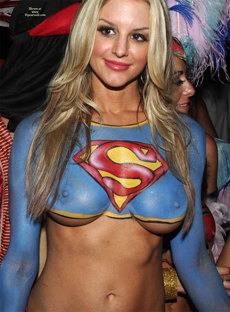 super girl body paint naked