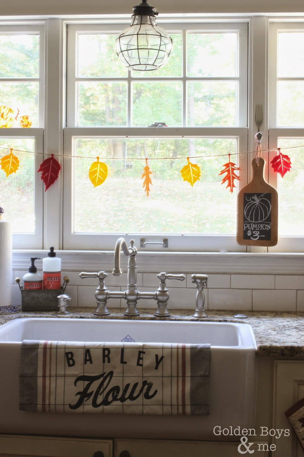 Shaw's farm sink with fall decor-www.goldenboysandme.com
