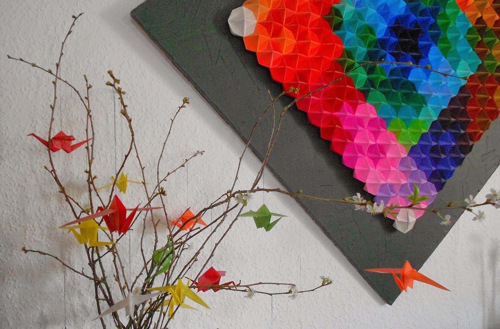 Frühlingsdeko Teil 2: Origami-Kraniche aus Transparentpapier