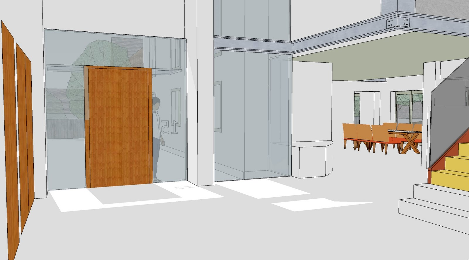 Large frameless glazing is delicately arranged within the solid render  title=