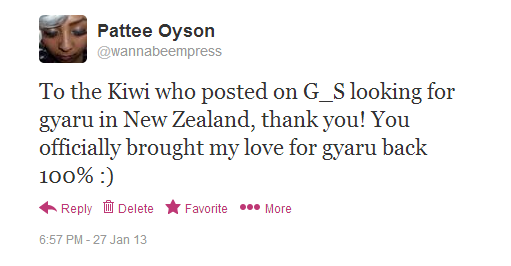 "Tweet by @wannabeempress: ""To the Kiwi who posted on G_S looking for gyaru in New Zealand, thank you! You officially brought my love for gyaru back 100% :)"""