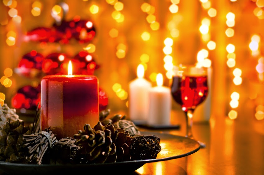 Christmas Diner table with Candle