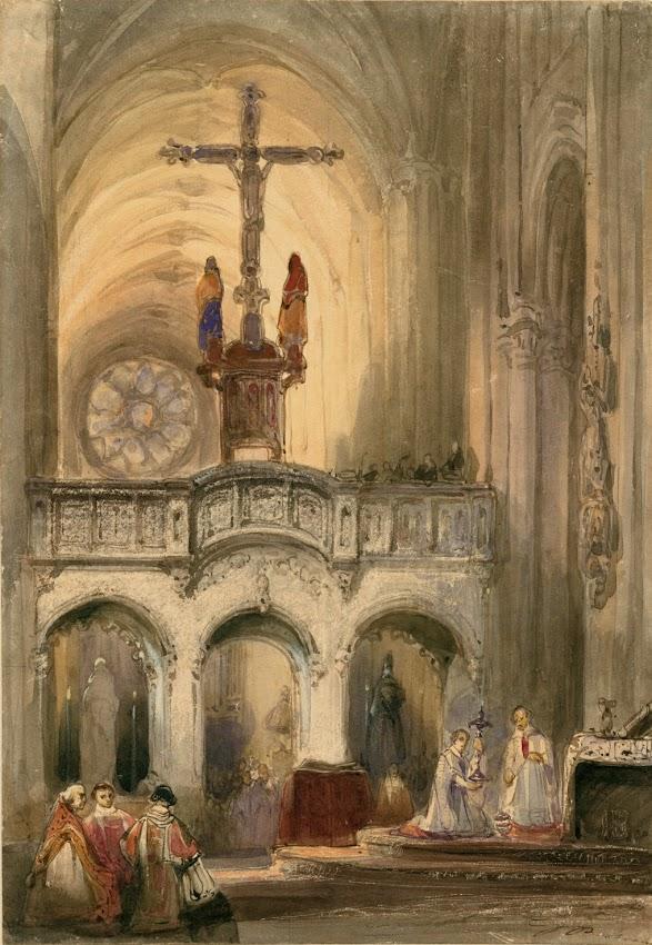Johannes Bosboom - Kerkinterieur met mis