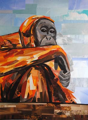 What Are You Looking At - orangutan - by collage artist Megan Coyle