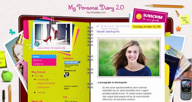 free my personal diary 2 0 blogger template scriptmafia org