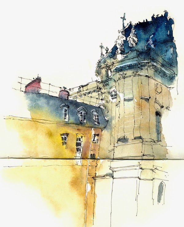 Water colour picture of Palace of Versailles, France