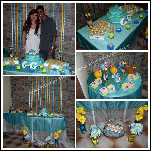 decoracao para casamento em azul e amarelo:Decoração de noivado azul e amarelo – Camilla e Guilherme