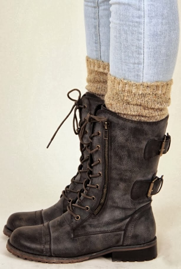 Amazing Dark Brown Leather Boots with Cute Beige Boot Socks, Fashion for Fall and Winter