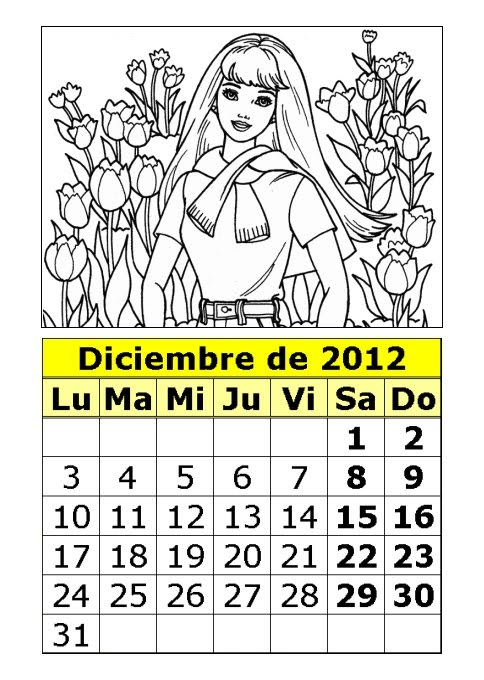 Calendario de la Barbie para colorear de 2012 (4ª parte ...