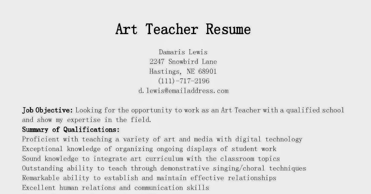 Art Teacher Resume Examples