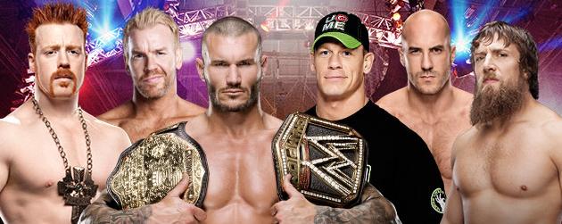 camara de la eliminación combate or el campeonato mundial de la WWE, john cena, randy orton, sheamus