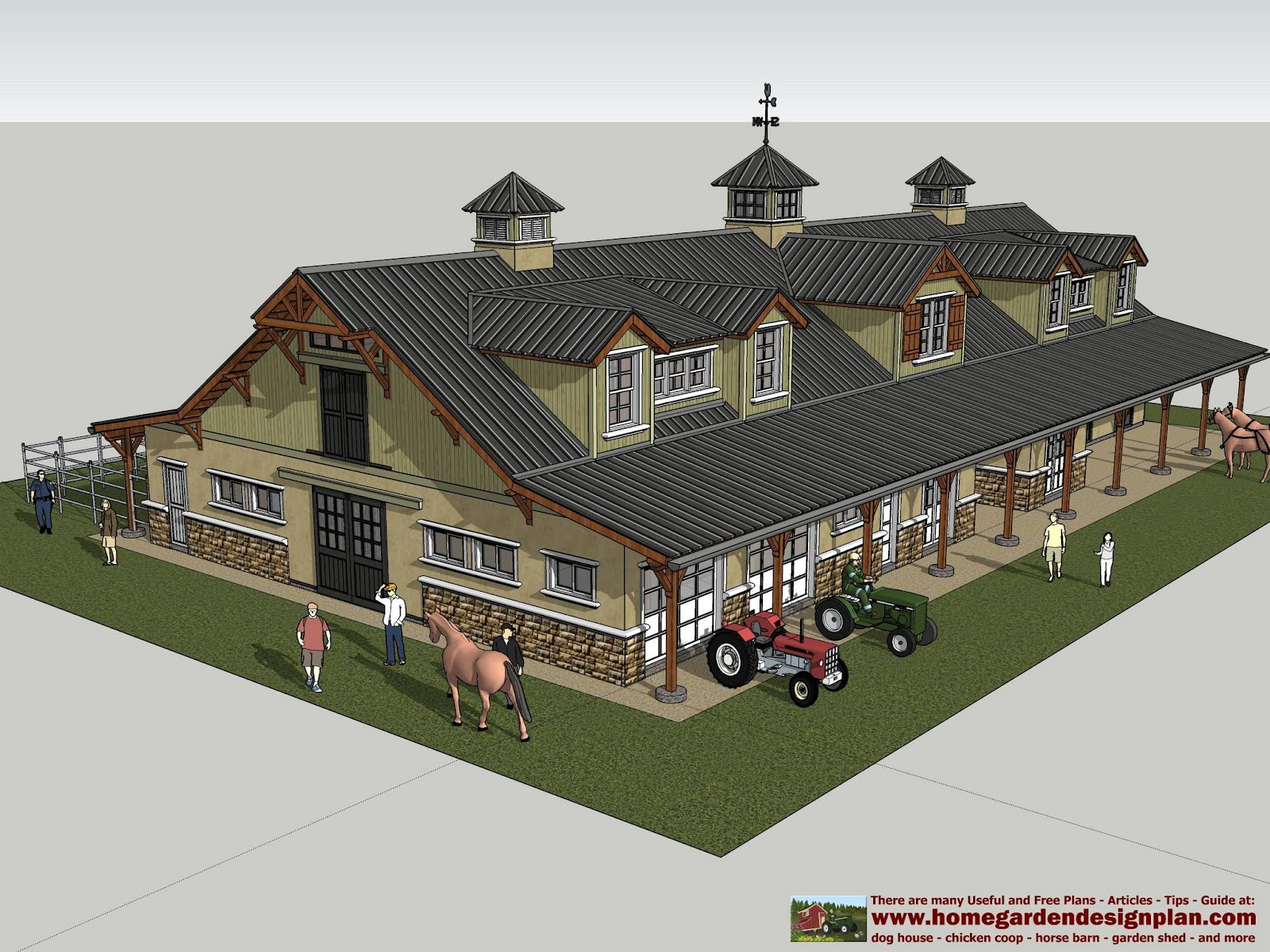 Home garden plans hb100 horse barn plans horse barn for Luxury barn plans