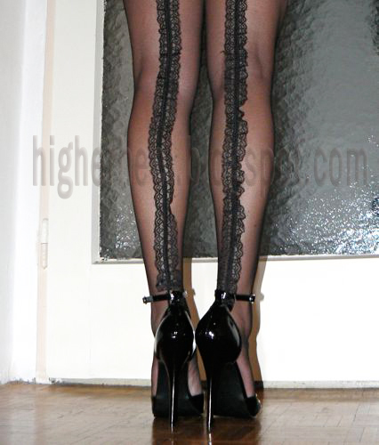 6 inch pumps and fishnet stockings