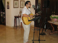 A guest singer singing amazing grace during the service