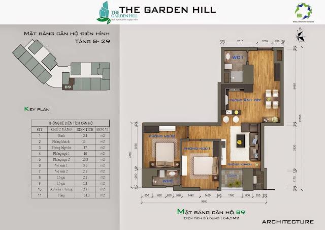 Căn B9 tầng 8 đến 29 Garden Hill - 99 Trần Bình