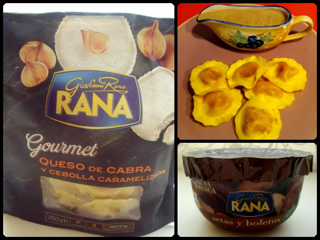 Giovanni Rana Ravioli con queso de cabra y cebolla caramelizada Salsa de setas y boletus