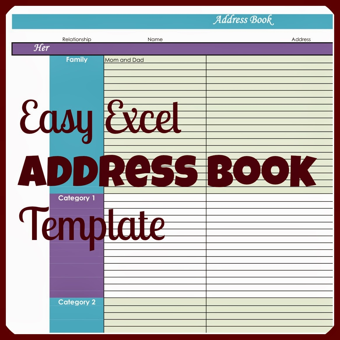 Easy Excel Address Book Template  Contact List Excel Template